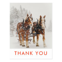 Horse Drawn Sleigh Christmas Scene Thank You Postcard