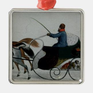 Horse Drawn Sleigh Metal Ornament