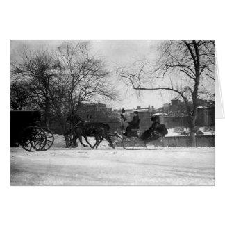 Horse Drawn Sleigh NYC Greeting Card