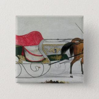 Horse Drawn Sleigh Pinback Button