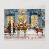 Horse Drawn Sleigh Reindeer Vintage Image Postcard