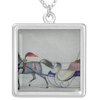 Horse Drawn Sleigh Silver Plated Necklace