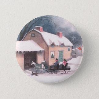 Horse Drawn Sleigh Vintage Christmas Button