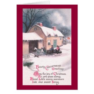 Horse Drawn Sleigh Vintage Christmas Greeting Cards