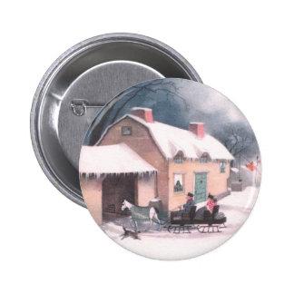 Horse Drawn Sleigh Vintage Christmas Pin