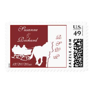 Horse Drawn Sleigh Wedding Stamps