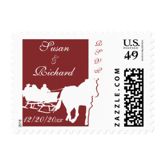Horse Drawn Sleigh Wedding Postage Stamps