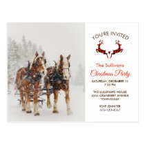 Horse Drawn Sleigh Winter Christmas Party Postcard