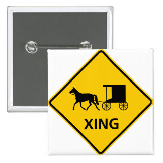 Horse-drawn Vehicle Crossing Highway Sign Pinback Button