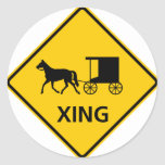 Horse-drawn Vehicle Crossing Highway Sign Classic Round Sticker
