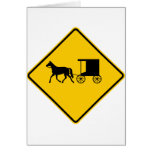 Horse-drawn Vehicle Traffic Highway Sign Greeting Card