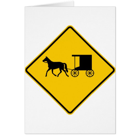 Horse-drawn Vehicle Traffic Highway Sign Card