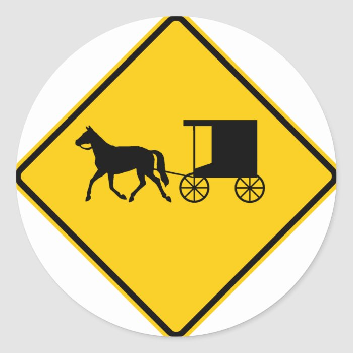 Horse-drawn Vehicle Traffic Highway Sign Classic Round Sticker