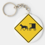Horse-drawn Vehicle Traffic Highway Sign Keychain