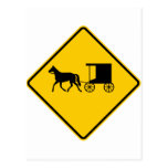 Horse-drawn Vehicle Traffic Highway Sign Postcard