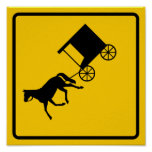 Horse-drawn Vehicle Traffic Highway Sign Posters