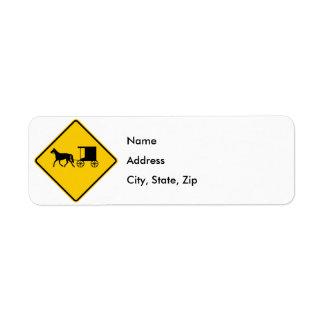 Horse-drawn Vehicle Traffic Highway Sign Return Address Label