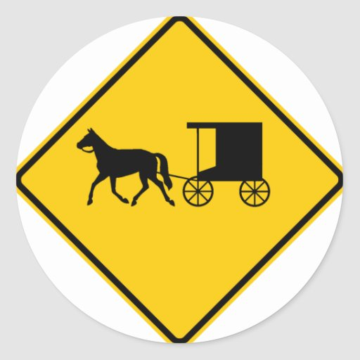 Horse-drawn Vehicle Traffic Highway Sign Classic Round Sticker