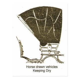 Horse drawn vehicles,  Keeping dry Postcard