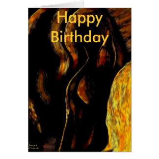 horse dreams fire, Happy Birthday Greeting Card