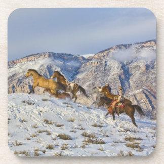 Horse Drive Through the Snow 3 Drink Coaster