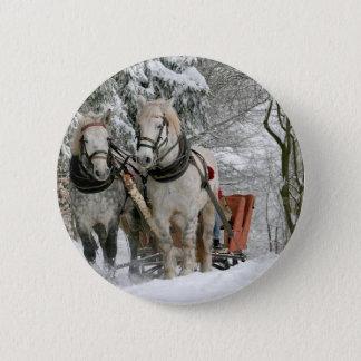 Horse Driven Sleigh Comes Up The Mountain Pinback Button