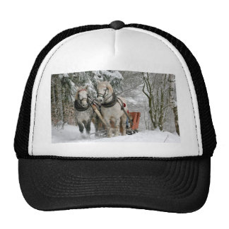 Horse Driven Sleigh Comes Up The Mountain Trucker Hat