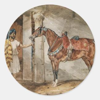 Horse (Eastern) by Theodore Gericault Classic Round Sticker