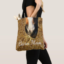 Horse Eating Hay Print Barn Mom Tote Bag