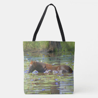 Horse eating in the lake Australia, Photo All Over Tote Bag