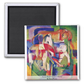 Horse Elephant Cow Winter By Marc Franz 2 Inch Square Magnet
