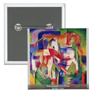 Horse Elephant Cow Winter By Marc Franz Pinback Buttons
