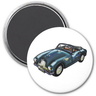 Horse Emblem on Classic Sports Car 3 Inch Round Magnet