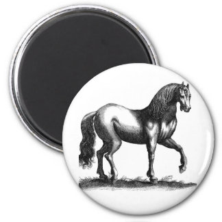 Horse Engraving 2 Inch Round Magnet