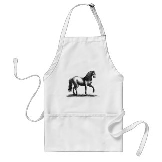 Horse Engraving Adult Apron