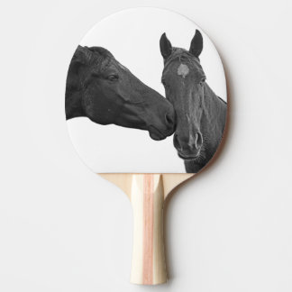 Horse equestrian animal black and white photo Ping-Pong paddle