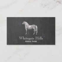 Horse Equestrian Equine Rustic Black Business Card