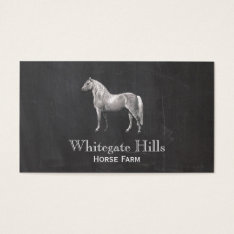 Horse Equestrian Equine Rustic Black Business Card at Zazzle