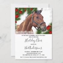 Horse Equine Christmas Equestrian Cute Pony Invitation