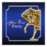 Horse equine party event show blue black personalized invitation