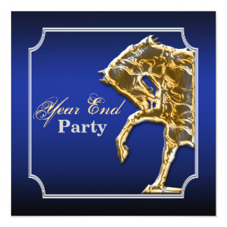 Horse equine party event show blue black 5.25x5.25 square paper invitation card