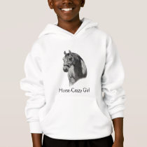 HORSE: Equine PENCIL Drawing: HORSE-CRAZY GIRL Hoodie