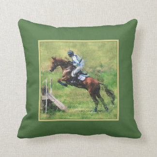 Horse eventing green throw pillow