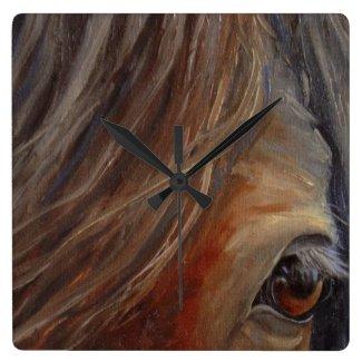 Horse Eye Fine Art Wall Clock