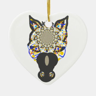 Horse Face Double-Sided Heart Ceramic Christmas Ornament