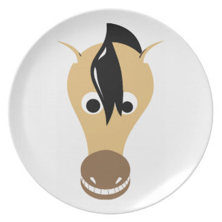 Horse Face Toothy Grin Melamine Plate
