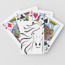 Horse Face with a long mane, black and white Bicycle Playing Cards