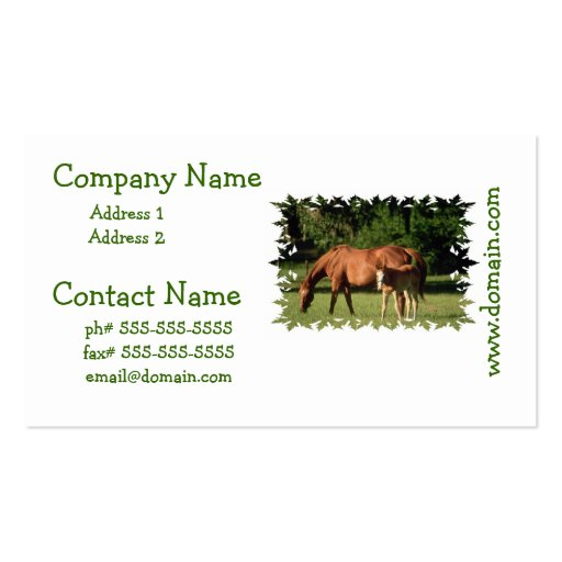 Horse family business cards zazzle for Family business cards