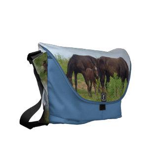 Horse Family Grazing Messenger Bag