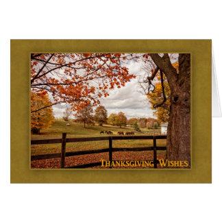 Horse Farm, Autumn Landscape, Thanksgiving Card